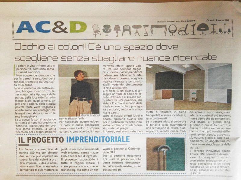 Spazio Colore DM Su La Repubblica Di Palermo (15/03/2018)